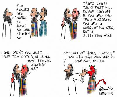 Bible Cartoon: Satan Be Gone, Matthew 16:13-23