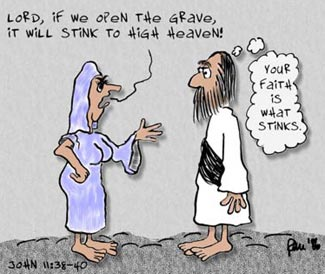 Series 1 Bible Cartoon: He Stinketh, John 11:17-45